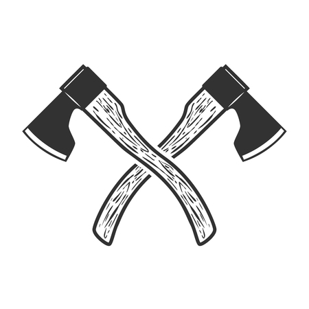 Crossed axe isolated on white background. Vector illustration Zdjęcie Seryjne - 83032355