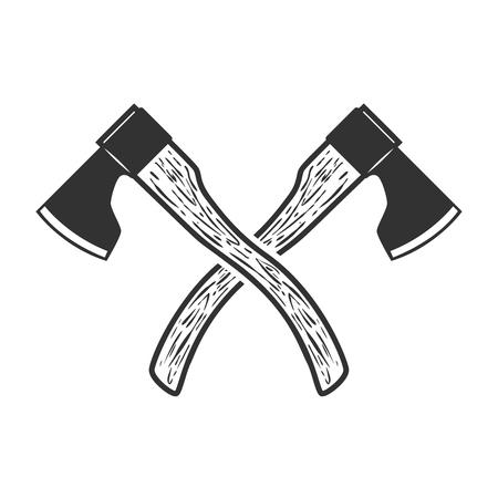 Crossed axe isolated on white background. Vector illustration Ilustracja