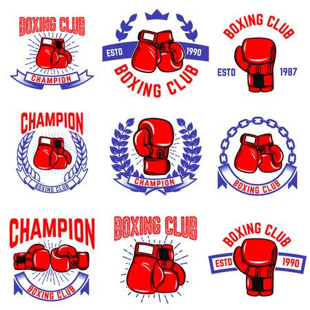 Conjunto de emblemas del club de boxeo. Guantes de boxeo. Elementos de diseño para logotipo, etiqueta, insignia, signo, marca. Ilustración vectorial Logos