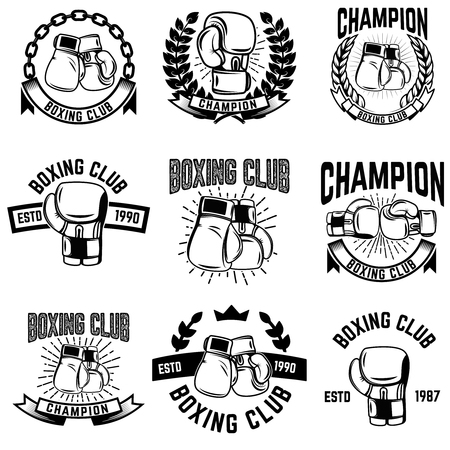Set of monochrome boxing club emblems on white background. Design elements for logo, label, emblem, sign. Vector illustration