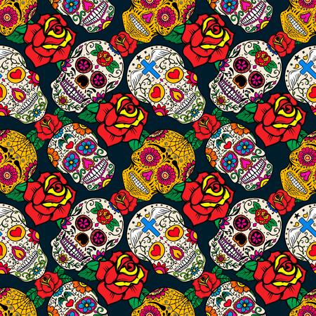 シュガー スカルとバラのシームレスなパターン。死んだ日。Dia デ ロス ムエルトス。ベクトルの図。  イラスト・ベクター素材