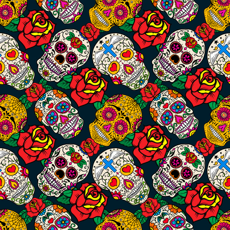 A Seamless pattern with sugar skulls and roses. Dead Day. Dia de los Muertos. Vector illustration.