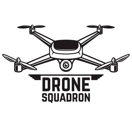 흰색 배경에 고립 된 무인도 그림입니다. Quadcopter 아이콘입니다. 로고, 레이블, 엠 블 럼, 기호 디자인 요소입니다. 벡터 일러스트 레이 션