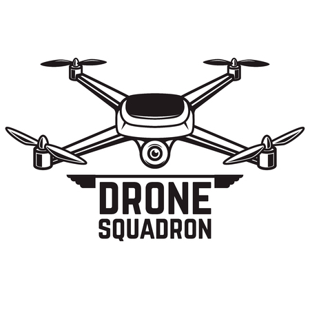 A Drone illustration isolated on white background. Quadcopter icon. Design element for logo, label, emblem, sign. Vector illustration