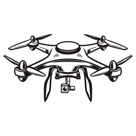 Eine Brummenabbildung getrennt auf weißem Hintergrund. Quadcopter-Symbol. Gestaltungselement für Logo, Label, Emblem, Zeichen. Vektor-Illustration Standard-Bild - 83032387