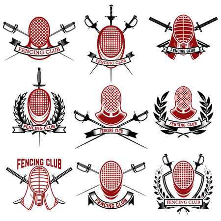 Set of fencing club emblems templates Imagens - 83036057