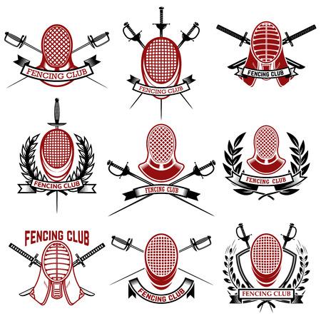 Set of fencing club emblems templates