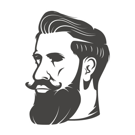 Gentleman head with beard and mustache isolated Vector illustration Stock Illustratie