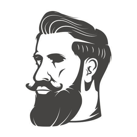 Gentleman head with beard and mustache isolated Vector illustration Illustration