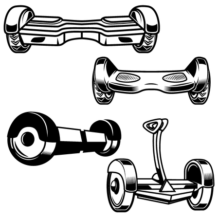 Self-balancing electric scooter icons isolated Vector illustration Иллюстрация