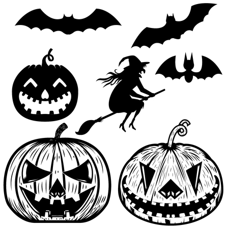 Set of halloween icons. Witch, halloween pumpkin, bats. Design elements for poster, greeting cards. Vector illustration