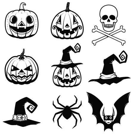 Set of halloween icons. halloween pumpkin, bats, spider, witch hat, skull with bones Design elements for poster, greeting cards. Vector illustration