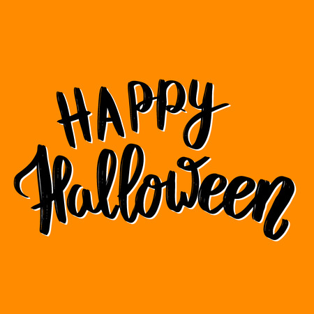 october 31: Happy Halloween Hand drawn lettering phrase Vector illustration
