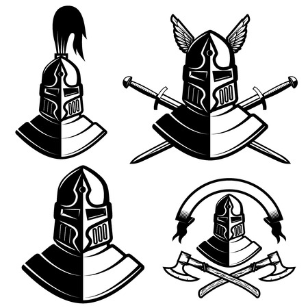 Set of knight helmets with swords, axes. Design elements for logo, label, emblem, sign, brand mark. Vector illustration