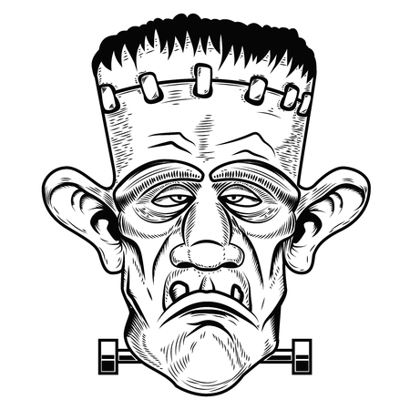 Monster head. Halloween zombie. Design element for poster, greeting card. Vector illustration