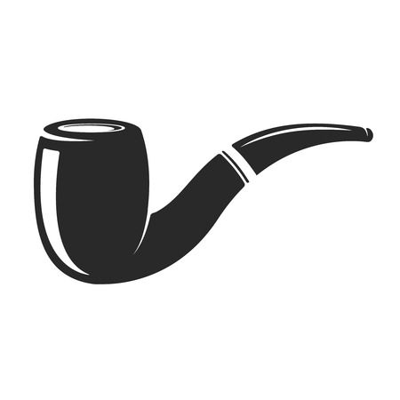 Smoking pipe isolated on white background. Design element for logo, label, emblem, sign. Vector illustration