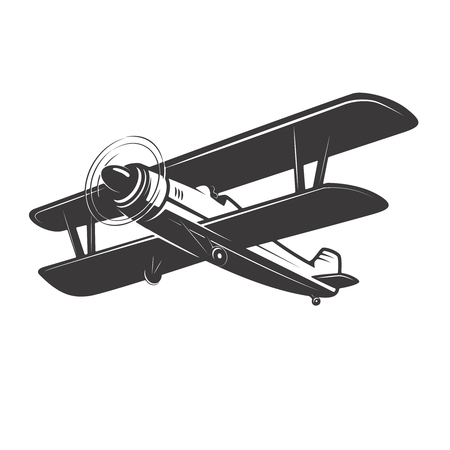 Vintage plane illustration isolated Vector illustration