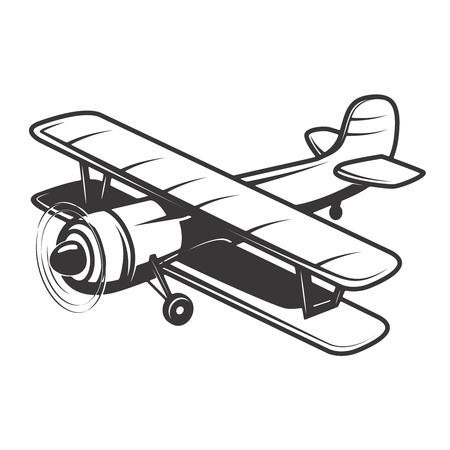Vintage plane illustration isolated Vector illustration