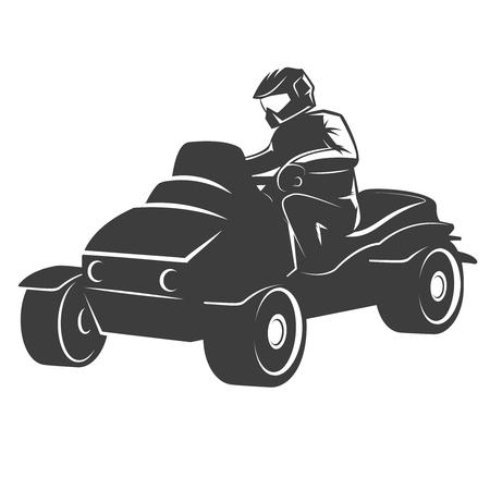 Quad bike illustration isolated on white background. Design element for logo, label, emblem, sign. Vector illustration