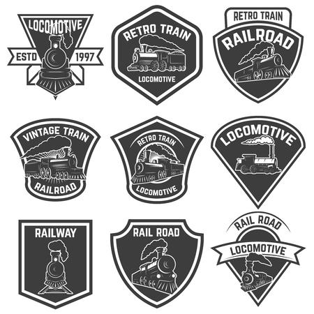 白い背景に分離されたビンテージ列車とエンブレムのセットです。ロゴ、ラベル、紋章、記号、バッジのデザイン要素です。ベクトル図