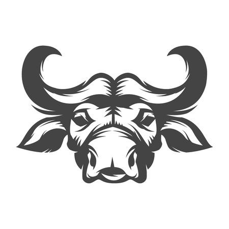 Ilustración de cabeza de búfalo aislado ilustración vectorial