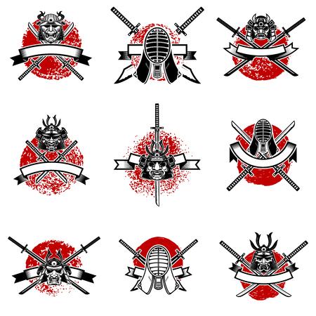 Set of emblems with japanese swords, samurai masks Vector illustration