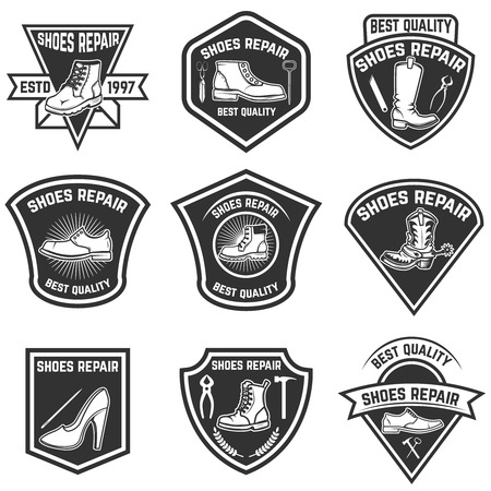 Set of shoe repair emblems isolated Vector illustration