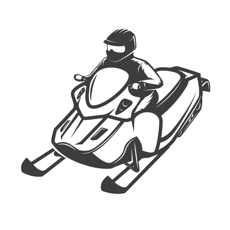 racing sign: Snowmobile icon isolated Vector illustration Illustration