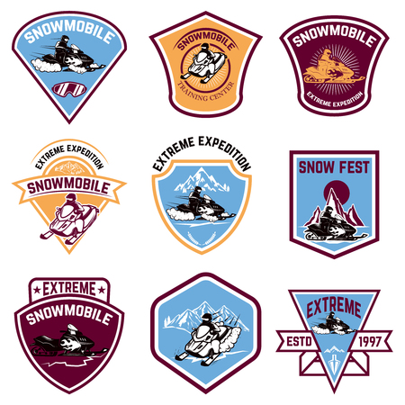 Set of snowmobile emblems isolated Vector illustration