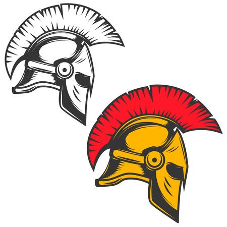Spartaanse helm ontwerp vectorillustratie Stock Illustratie