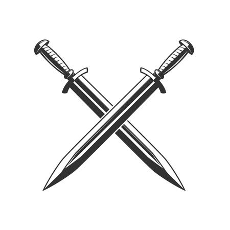 Gekruiste zwaarden die op witte achtergrond worden geïsoleerd. Ontwerpelement voor logo, etiket, embleem, teken. Vector illustratie Stock Illustratie