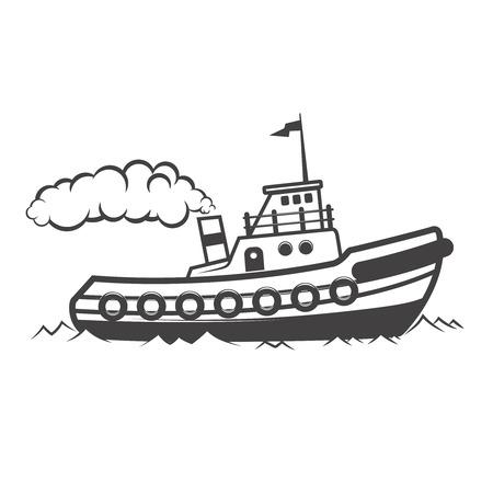 曳航船イラストは、白い背景で隔離。ロゴ、ラベル、紋章、記号の要素をデザインします。ベクトル図 写真素材 - 83032397