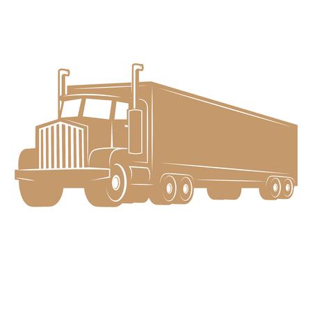 貨物トラックのイラストが白い背景に分離されました。ロゴ、ラベル、エンブレム、サイン、ブランド マークのデザイン要素です。ベクトルの図。