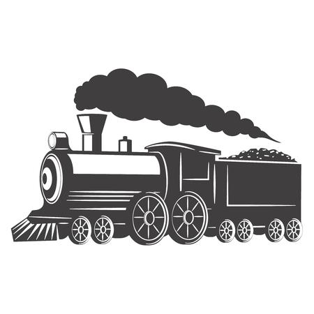 Uitstekende trein die op witte achtergrond wordt geïsoleerd. Ontwerpelement voor logo, label, embleem, teken. Vector illustratie Stock Illustratie