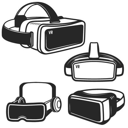 Set of virtual reality glasses icons isolated on white background. Design element for logo, label, emblem, sign. Vector illustration Illustration