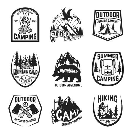 Set of camping, hiking, mountains, outdoor emblems, badges and design elements. Vector illustration Фото со стока - 83446336
