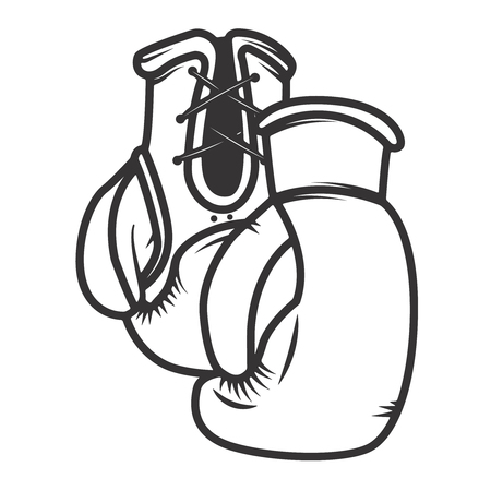 Boxing gloves isolated on white background. Design elements for logo, label, emblem, sign. Vector illustration