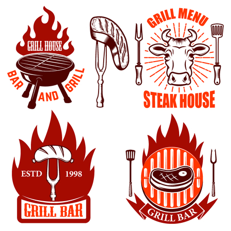 Set of Grill emblems and labels. Steakhouse. Design elements for logo, label, emblem, sign. Vector illustration Illustration