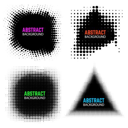 Set of halftone design elements isolated on white background. Design elements for poster, emblem, flyer. Vector illustration