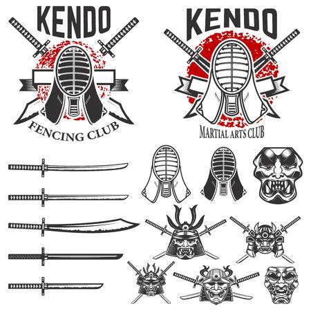 剣道武道エンブレムをセットします。剣道の剣、ヘルメット。サムライ ヘルメットと剣。ロゴ、ラベル、紋章、記号の要素をデザインします。ベク