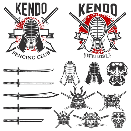Set of japanese fencing martial art emblems. Kendo swords, protective helmets. Samurai helmets and swords. Design elements for logo, label, emblem, sign. Vector illustration