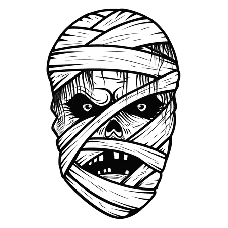 Mummy monster head isolated on white background. Halloween theme. Vector illustration