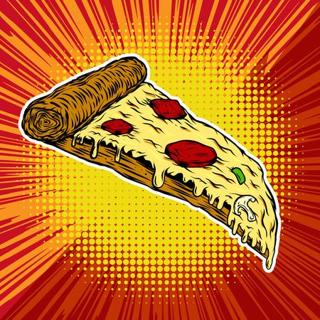 Pizza en el fondo del estilo del arte pop. Ilustración vectorial