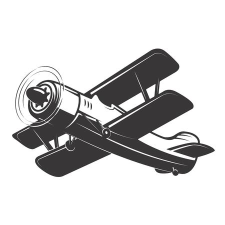 ヴィンテージ飛行機イラスト白背景に分離されました。ロゴ、ラベル、紋章、記号の要素をデザインします。ベクトル図  イラスト・ベクター素材