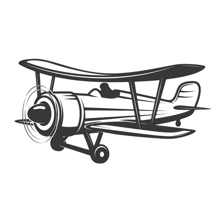 Vintage airplane illustration isolated on white background. Design elements for logo, label, emblem, sign. Vector illustration