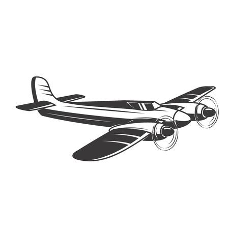 Illustrazione di aereo d'epoca isolato su sfondo bianco. Elementi di design per logo, etichetta, emblema, segno. Illustrazione vettoriale Archivio Fotografico - 83446404
