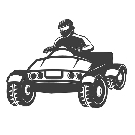 Quad bike illustration isolated on white background. Design element for logo, label, emblem, sign. Vector illustration