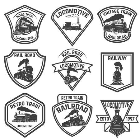 Zestaw emblematów z zabytkowymi pociągami na białym tle. Elementy projektu logo, etykieta, godło, znak, odznaka. Ilustracja wektorowa