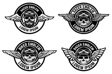 Emblemas de Racer. Conjunto de emblemas alados con calaveras. Elementos de diseño para club de motociclistas, logotipo de la comunidad de carreras, etiqueta, signo. Ilustración vectorial Foto de archivo - 83446409