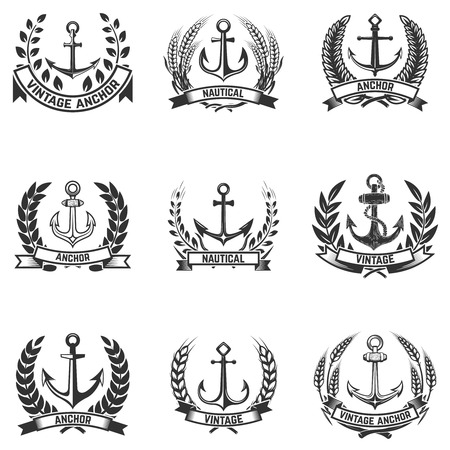 Set of the emblems with anchors and wreaths. Design elements for logo, label, emblem, sign, badge. Vector illustration